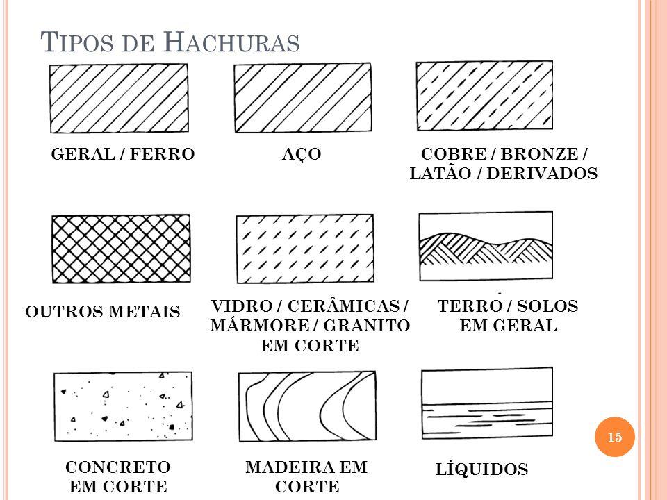 Tipos de Hachuras GERAL / FERRO AÇO COBRE / BRONZE / LATÃO / DERIVADOS
