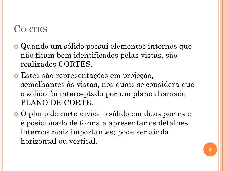 Cortes Quando um sólido possui elementos internos que não ficam bem identificados pelas vistas, são realizados CORTES.