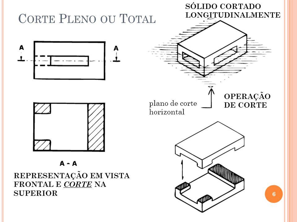 Corte Pleno ou Total SÓLIDO CORTADO LONGITUDINALMENTE