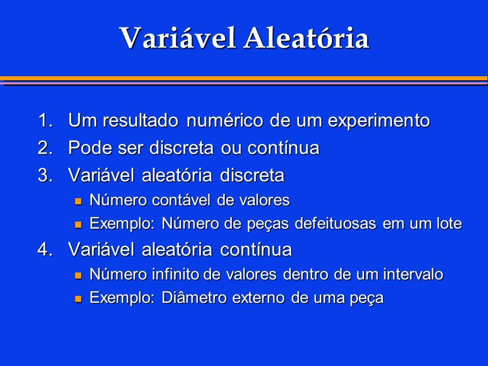 Variável Aleatória 1. Um resultado numérico de um experimento