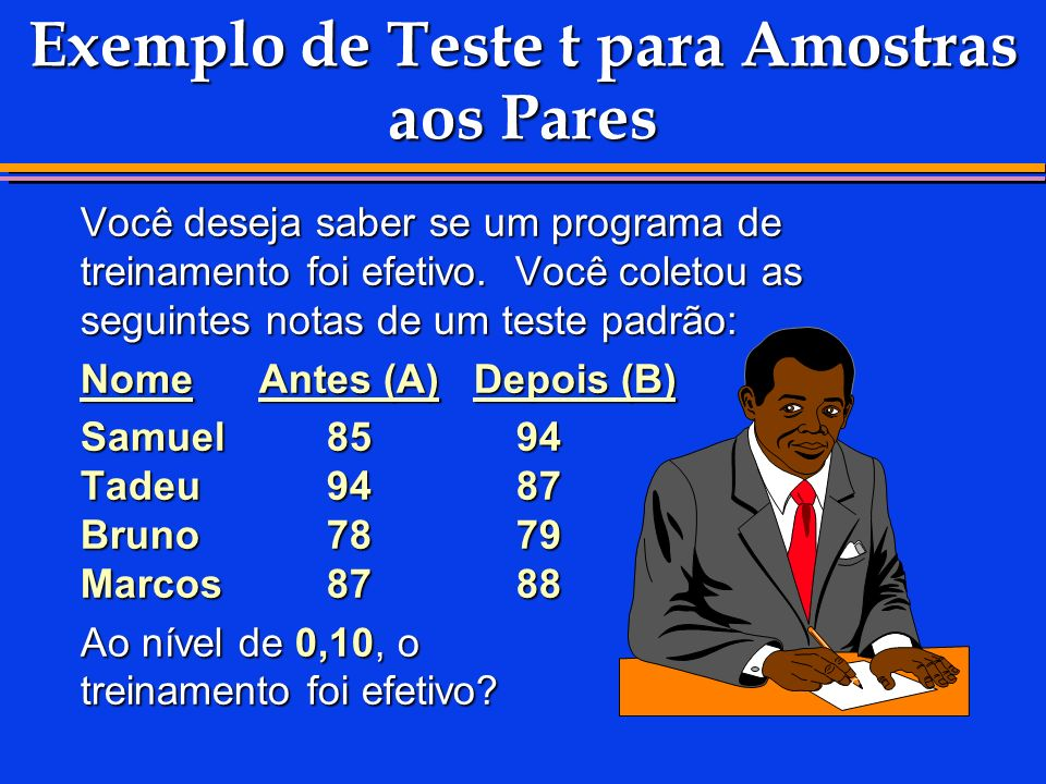 Exemplo de Teste t para Amostras aos Pares
