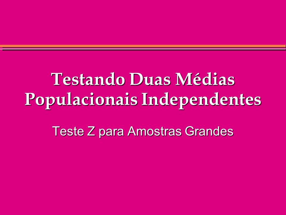Testando Duas Médias Populacionais Independentes
