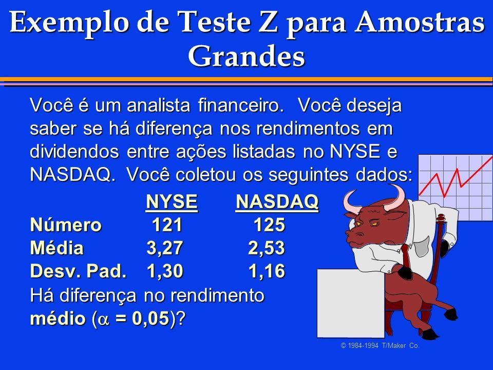 Exemplo de Teste Z para Amostras Grandes