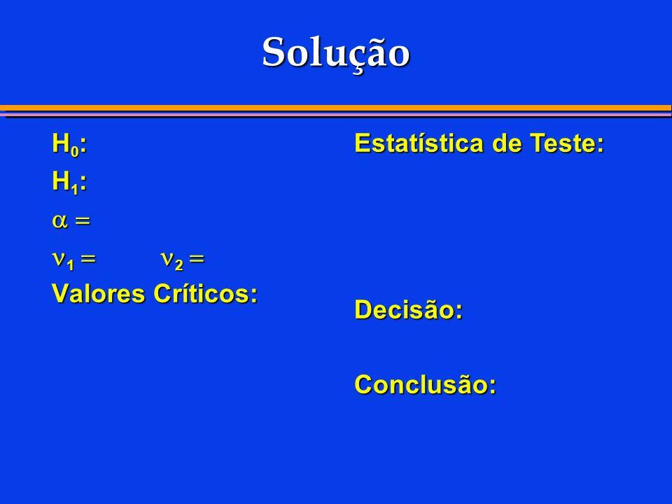 Solução H0: H1:   1  24 2  Valores Críticos:
