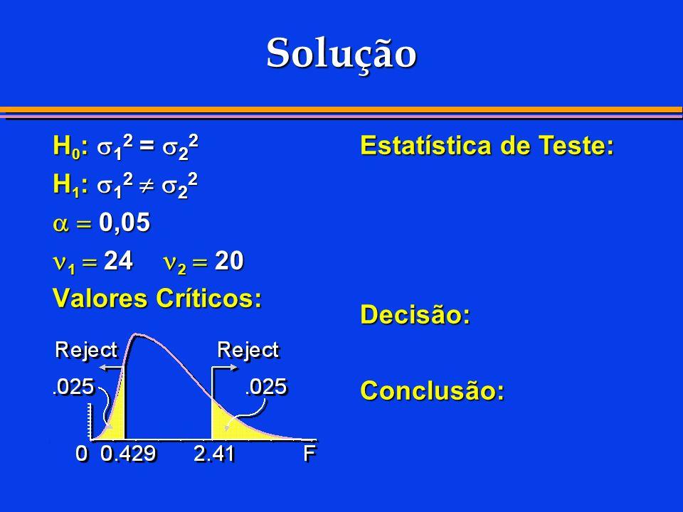 Solução H0: 12 = 22 H1: 12  22   0,05 1  24 2  20