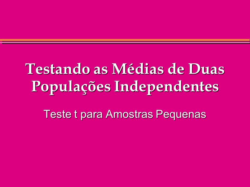 Testando as Médias de Duas Populações Independentes