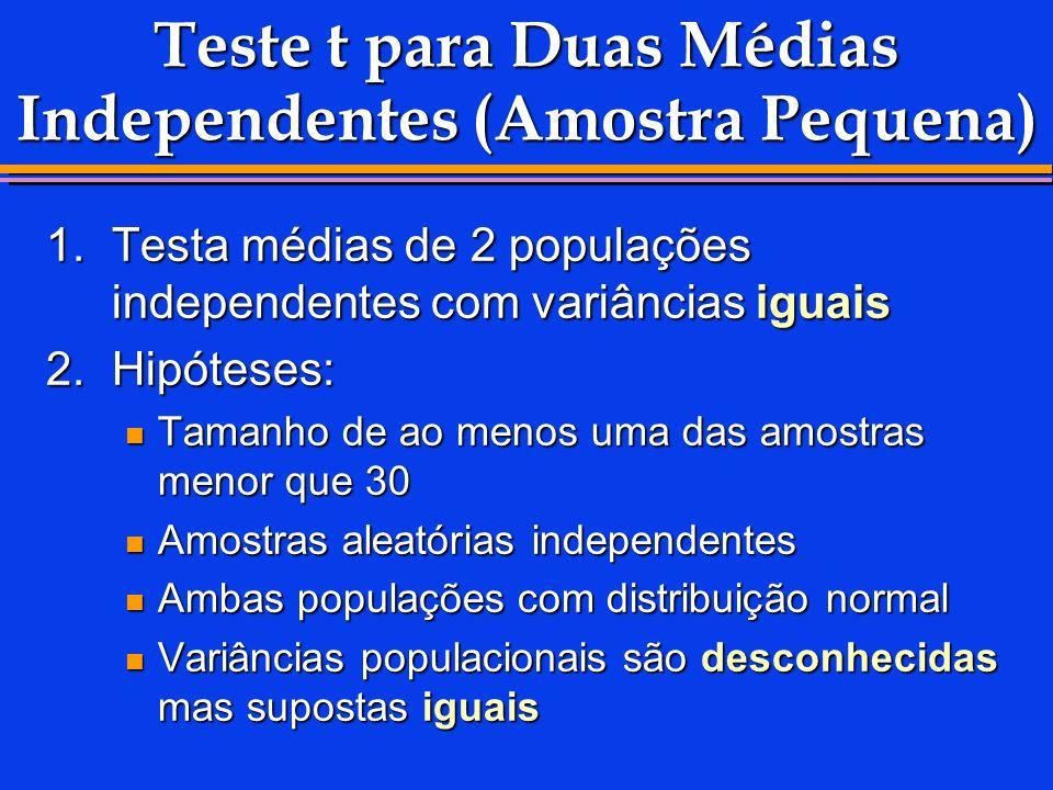 Teste t para Duas Médias Independentes (Amostra Pequena)