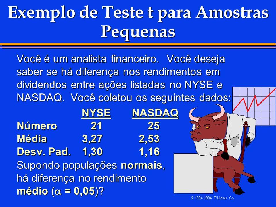 Exemplo de Teste t para Amostras Pequenas