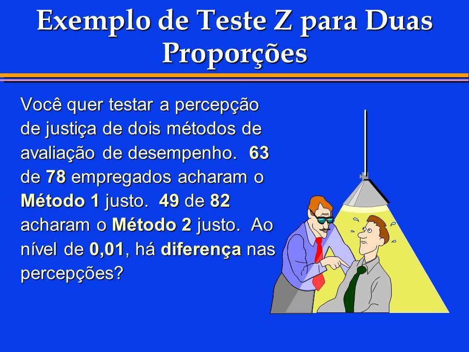Exemplo de Teste Z para Duas Proporções