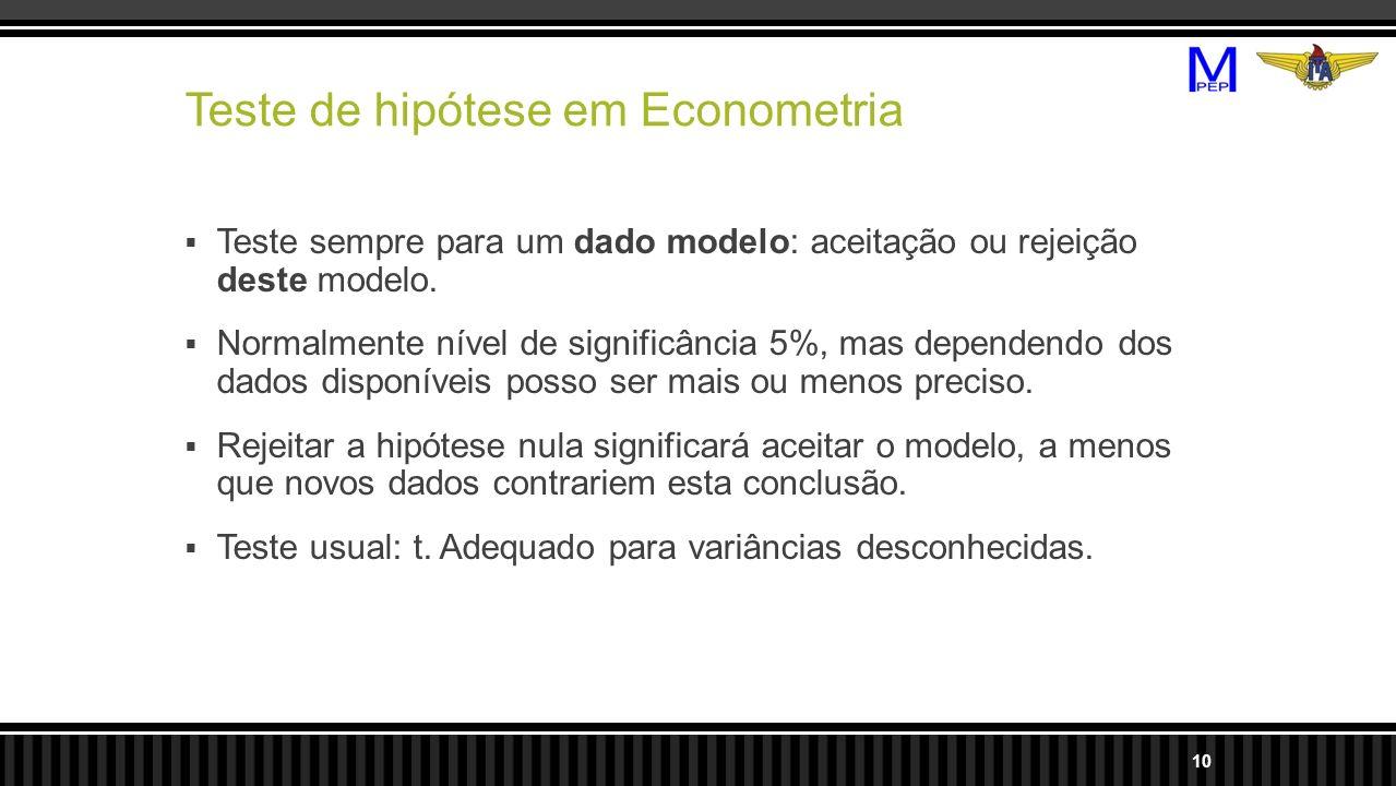 Teste de hipótese em Econometria