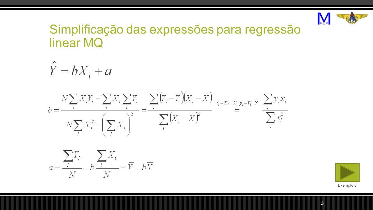 Simplificação das expressões para regressão linear MQ