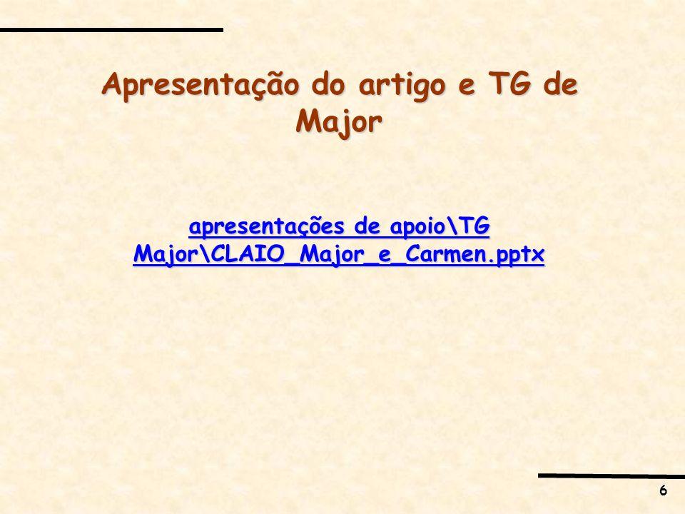 Apresentação do artigo e TG de Major