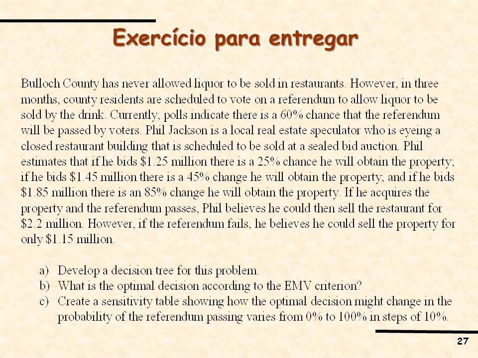 Exercício para entregar