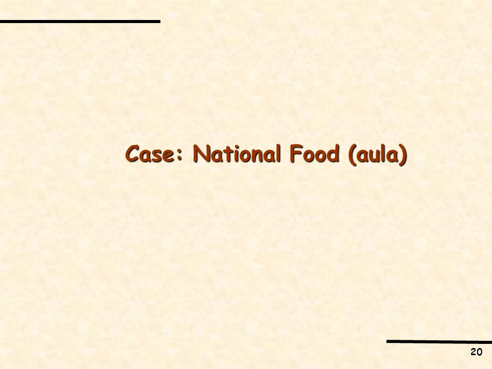 Case: National Food (aula)