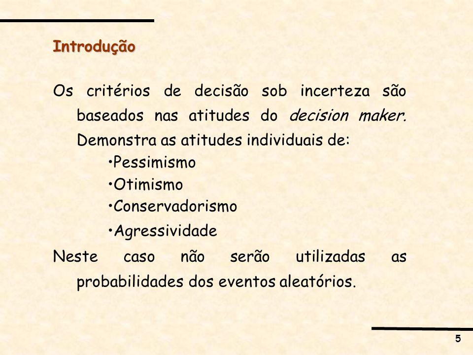Introdução Os critérios de decisão sob incerteza são baseados nas atitudes do decision maker. Demonstra as atitudes individuais de: