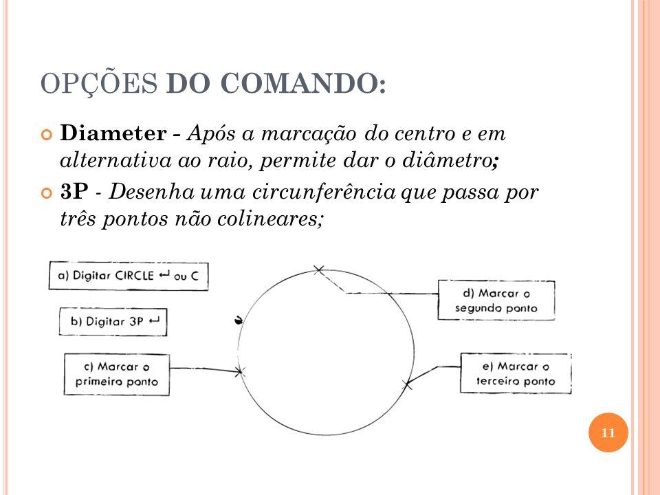 OPÇÕES DO COMANDO: Diameter - Após a marcação do centro e em alternativa ao raio, permite dar o diâmetro;