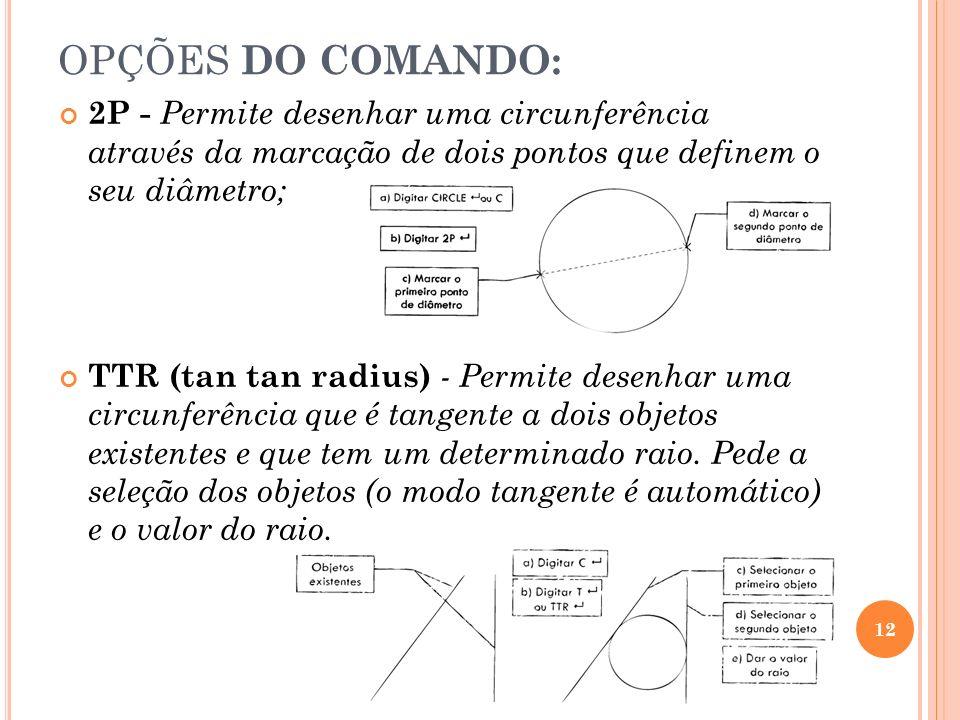 OPÇÕES DO COMANDO:2P - Permite desenhar uma circunferência através da marcação de dois pontos que definem o seu diâmetro;
