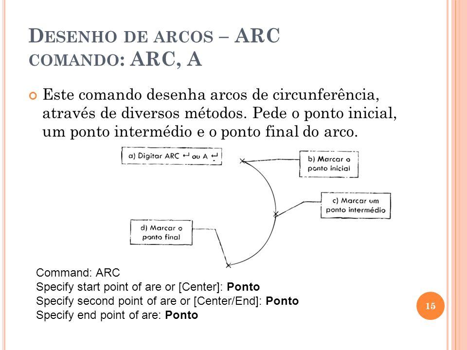 Desenho de arcos – ARC comando: ARC, A