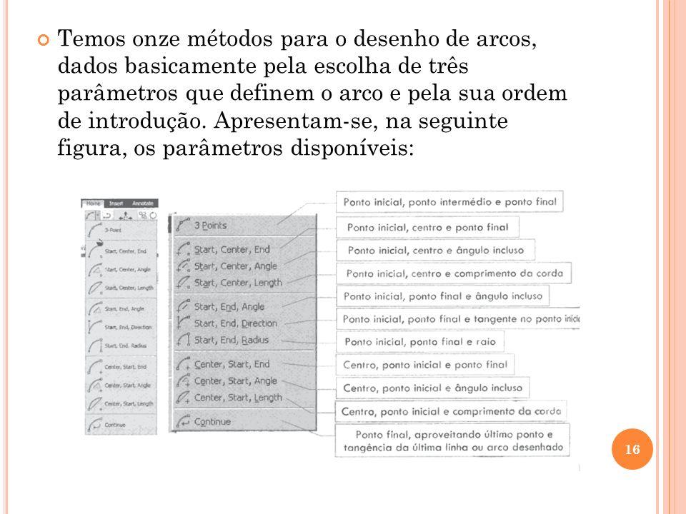 Temos onze métodos para o desenho de arcos, dados basicamente pela escolha de três parâmetros que definem o arco e pela sua ordem de introdução.