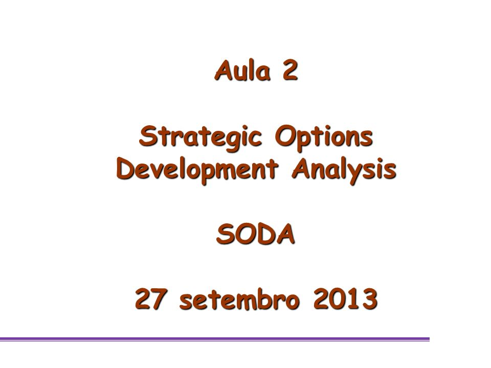 Strategic Options Development Analysis