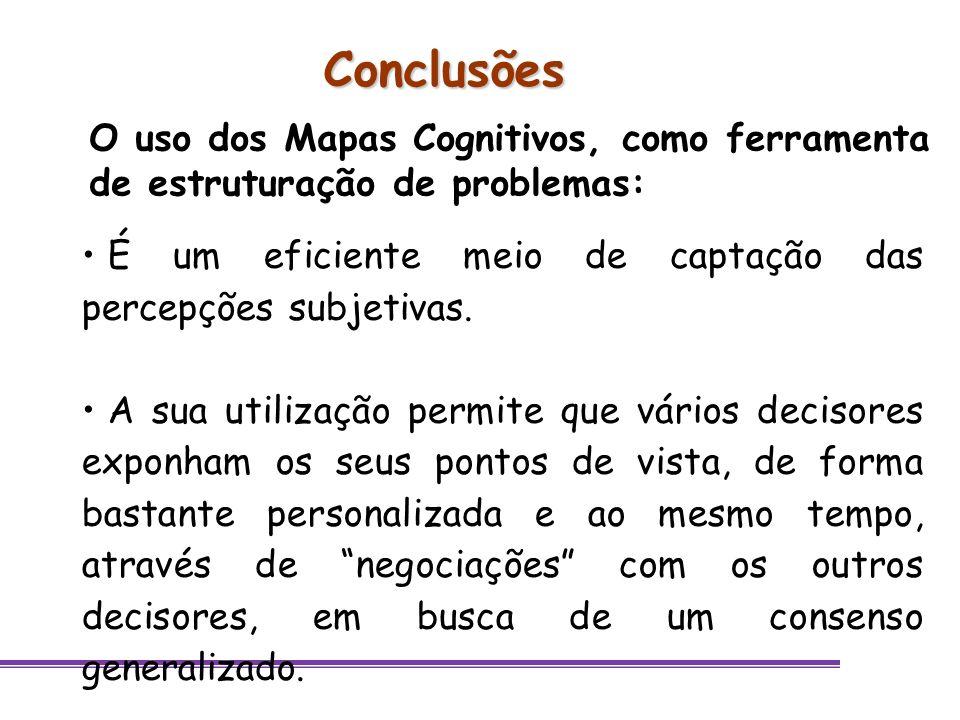 Conclusões O uso dos Mapas Cognitivos, como ferramenta de estruturação de problemas: É um eficiente meio de captação das percepções subjetivas.