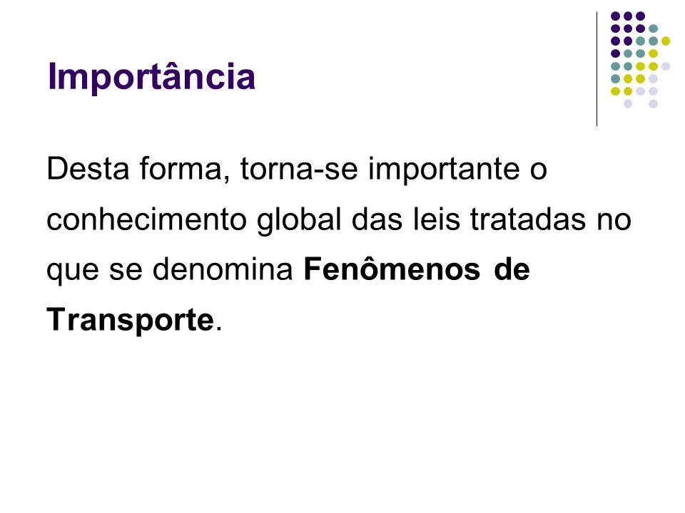 ImportânciaDesta forma, torna-se importante o conhecimento global das leis tratadas no que se denomina Fenômenos de Transporte.