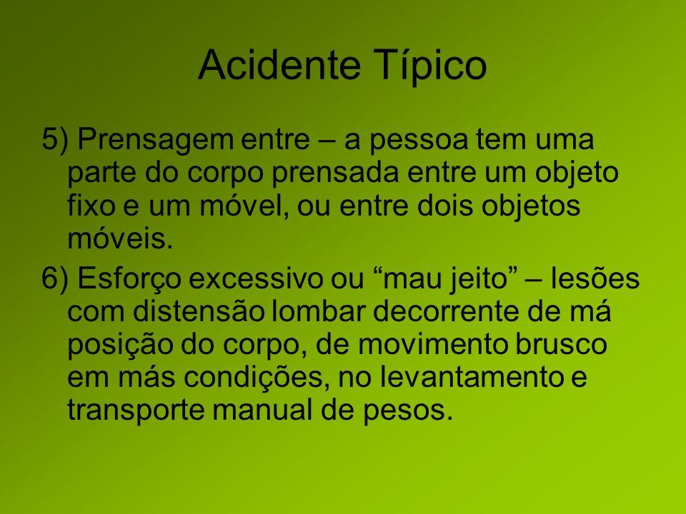 Acidente Típico 5) Prensagem entre – a pessoa tem uma parte do corpo prensada entre um objeto fixo e um móvel, ou entre dois objetos móveis.