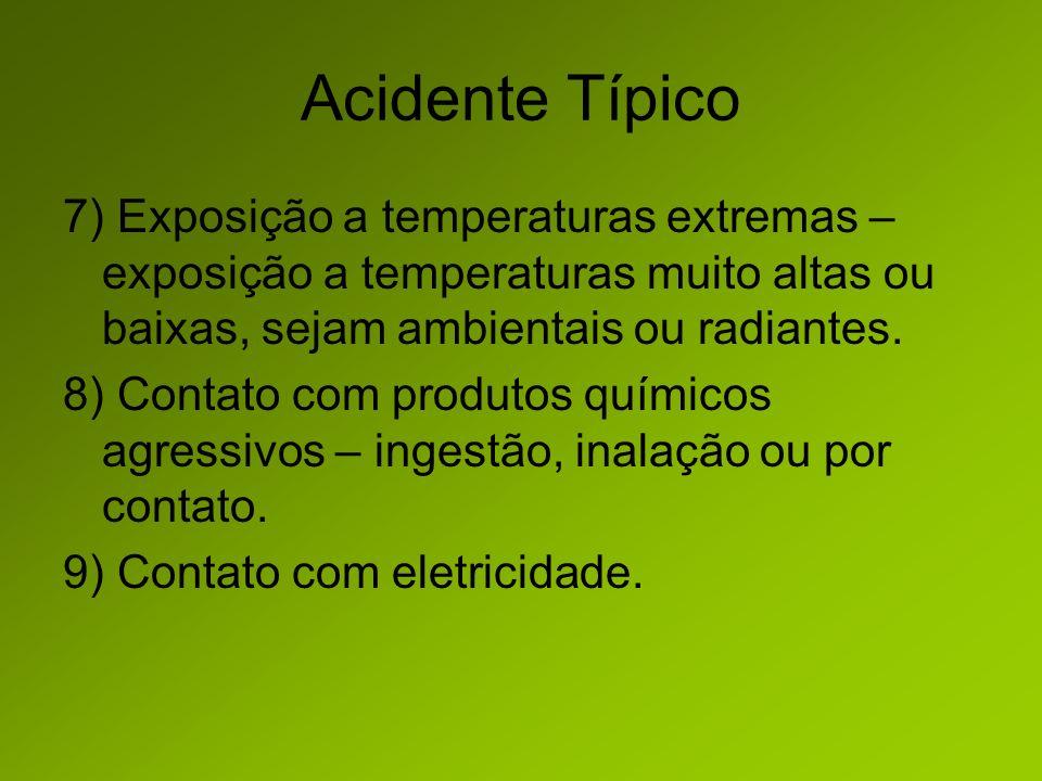 Acidente Típico 7) Exposição a temperaturas extremas – exposição a temperaturas muito altas ou baixas, sejam ambientais ou radiantes.
