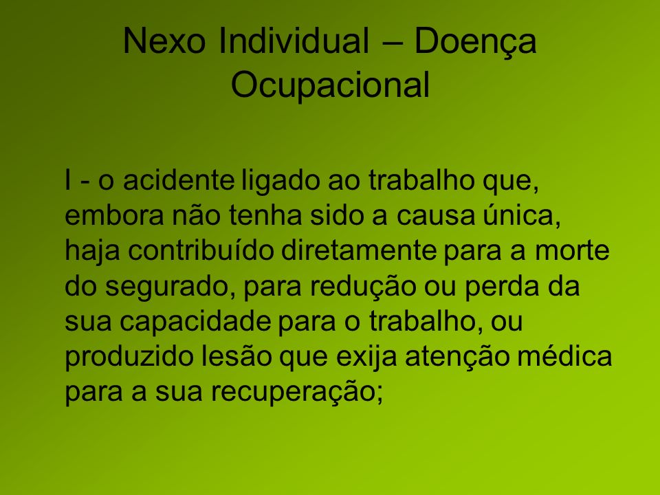 Nexo Individual – Doença Ocupacional