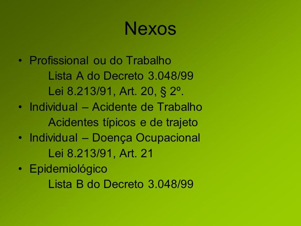 Nexos Profissional ou do Trabalho Lista A do Decreto 3.048/99