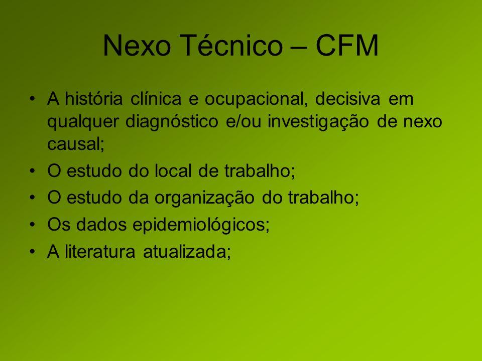 Nexo Técnico – CFM A história clínica e ocupacional, decisiva em qualquer diagnóstico e/ou investigação de nexo causal;