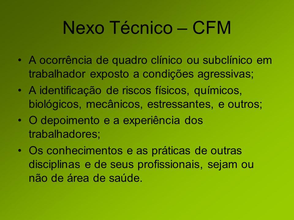 Nexo Técnico – CFM A ocorrência de quadro clínico ou subclínico em trabalhador exposto a condições agressivas;
