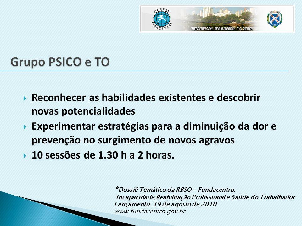 Grupo PSICO e TO Reconhecer as habilidades existentes e descobrir novas potencialidades.