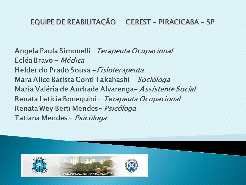 EQUIPE DE REABILITAÇÃO CEREST - PIRACICABA - SP