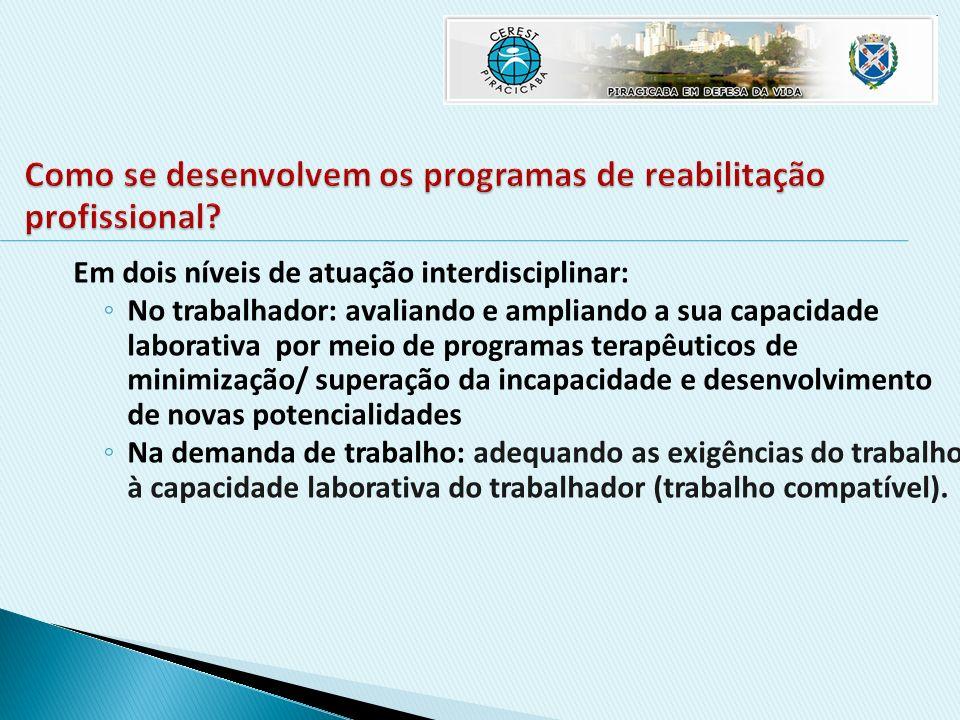 Como se desenvolvem os programas de reabilitação profissional