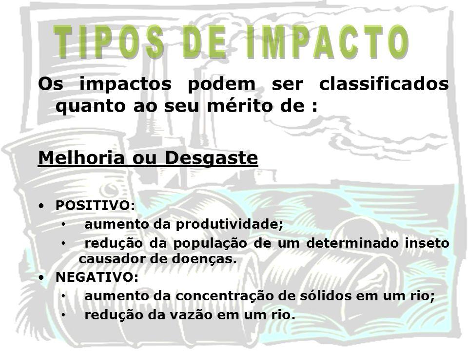 TIPOS DE IMPACTO Os impactos podem ser classificados quanto ao seu mérito de : Melhoria ou Desgaste.