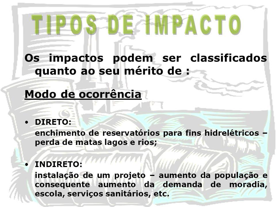 TIPOS DE IMPACTO Os impactos podem ser classificados quanto ao seu mérito de : Modo de ocorrência.