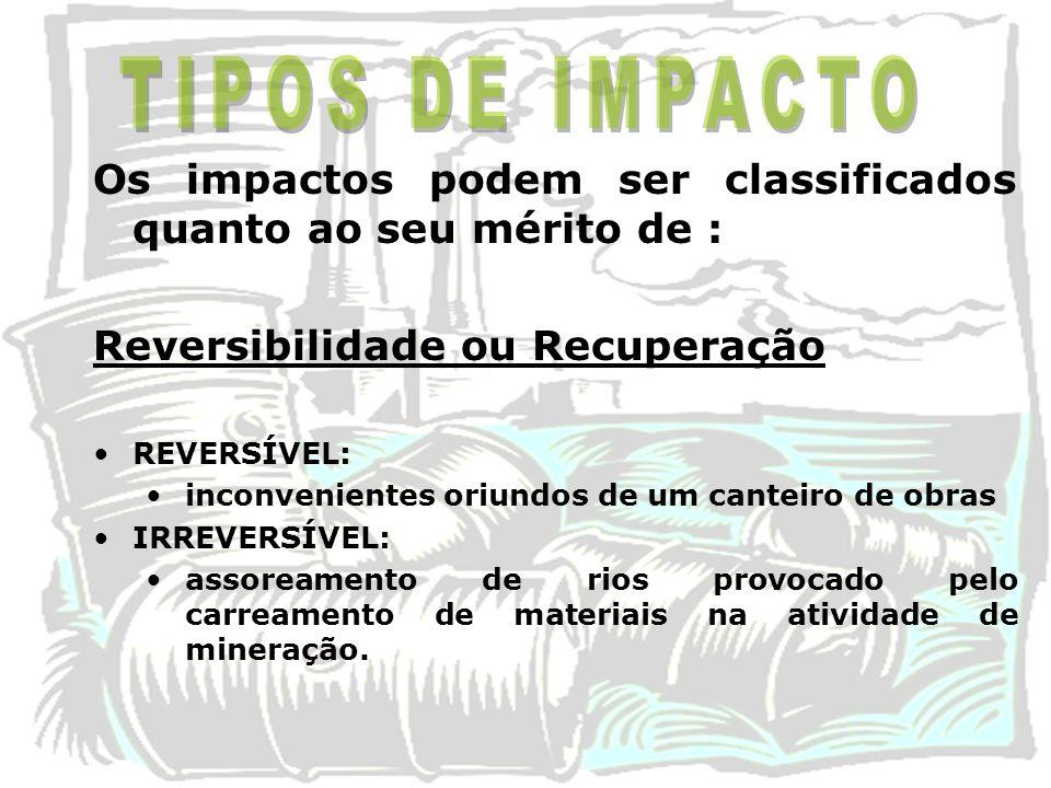 TIPOS DE IMPACTO Os impactos podem ser classificados quanto ao seu mérito de : Reversibilidade ou Recuperação.