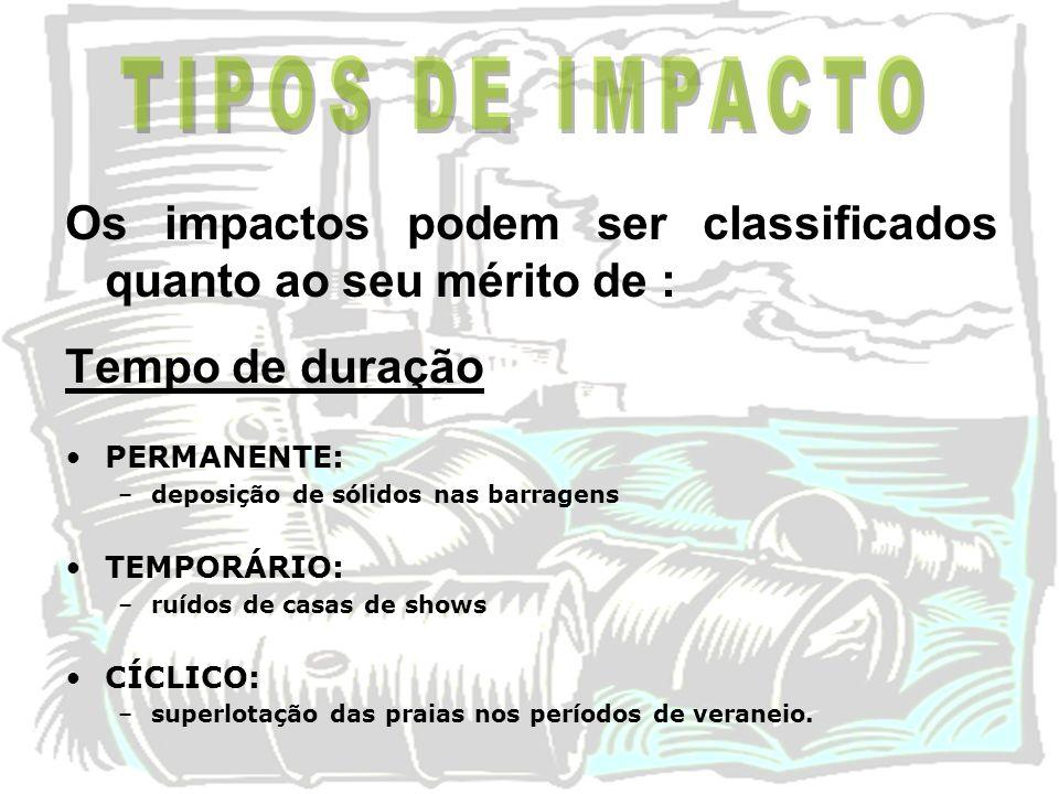 TIPOS DE IMPACTO Os impactos podem ser classificados quanto ao seu mérito de : Tempo de duração. PERMANENTE: