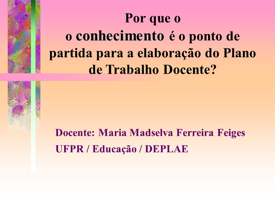 Docente: Maria Madselva Ferreira Feiges UFPR / Educação / DEPLAE