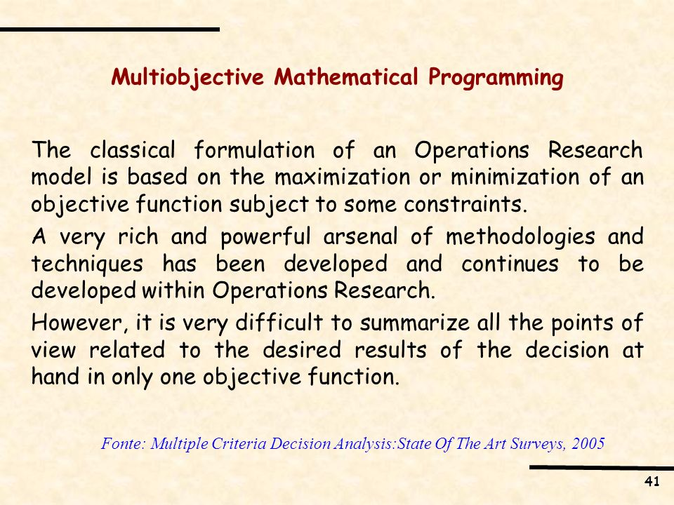 Multiobjective Mathematical Programming
