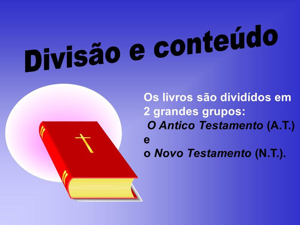 Divisão e conteúdo Os livros são dividídos em 2 grandes grupos: