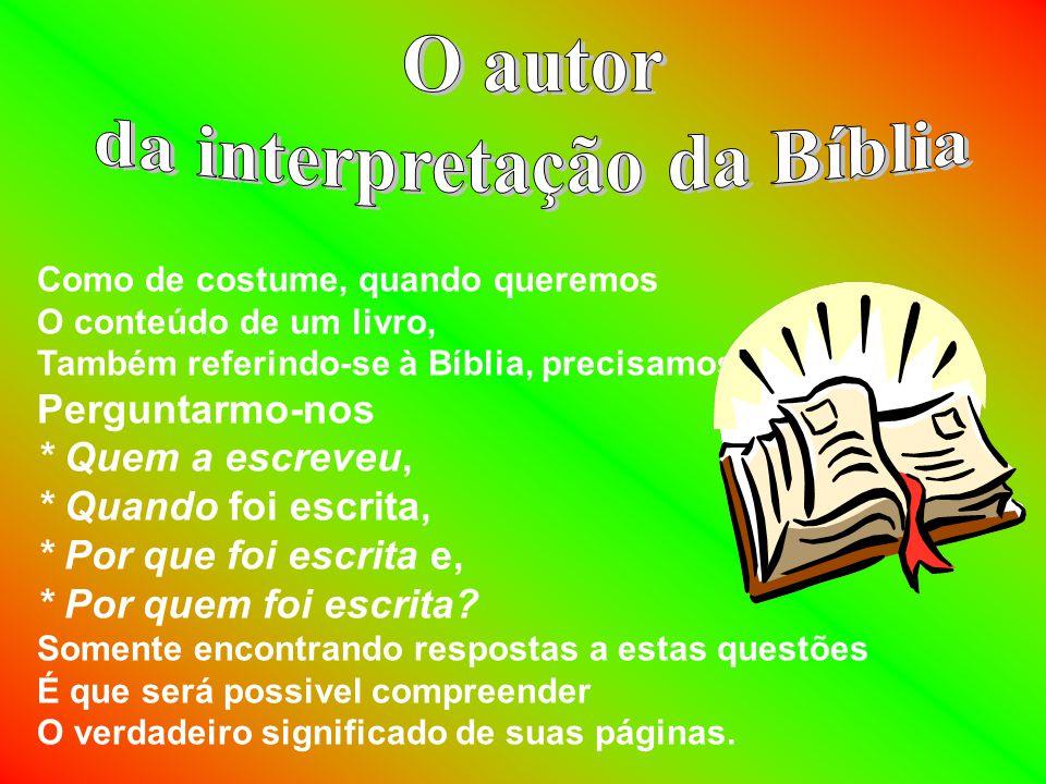da interpretação da Bíblia