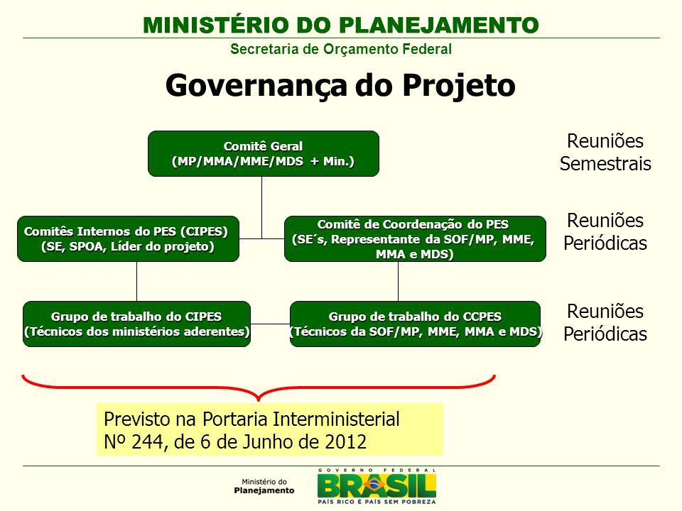 Governança do Projeto MINISTÉRIO DO PLANEJAMENTO Reuniões Semestrais