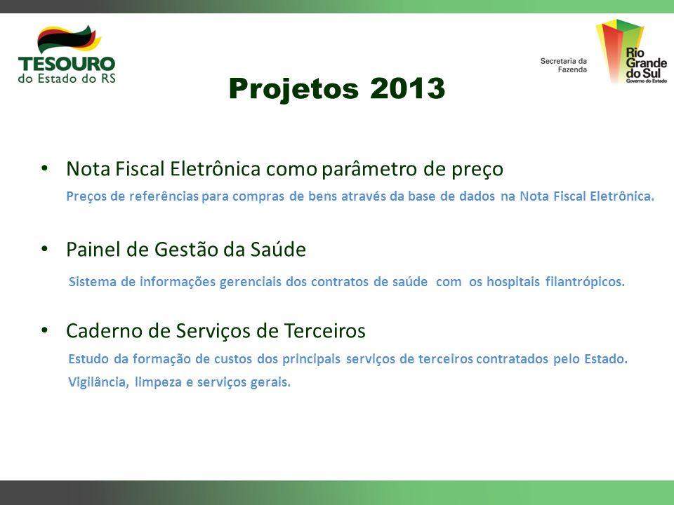 Projetos 2013 Nota Fiscal Eletrônica como parâmetro de preço