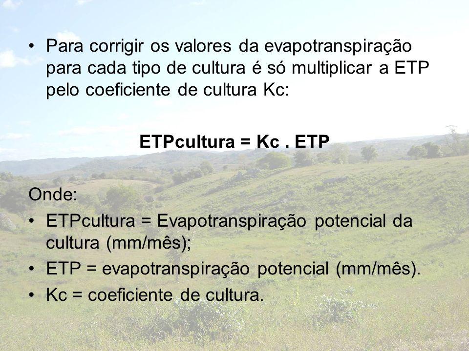 Para corrigir os valores da evapotranspiração para cada tipo de cultura é só multiplicar a ETP pelo coeficiente de cultura Kc: