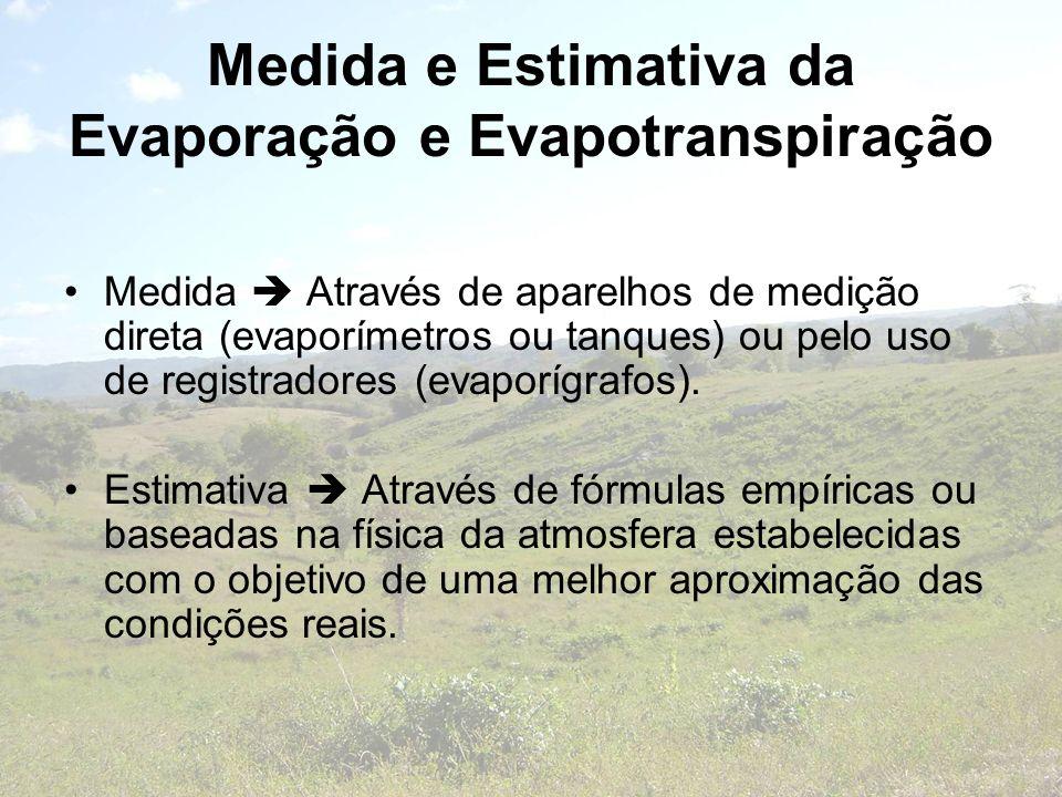 Medida e Estimativa da Evaporação e Evapotranspiração