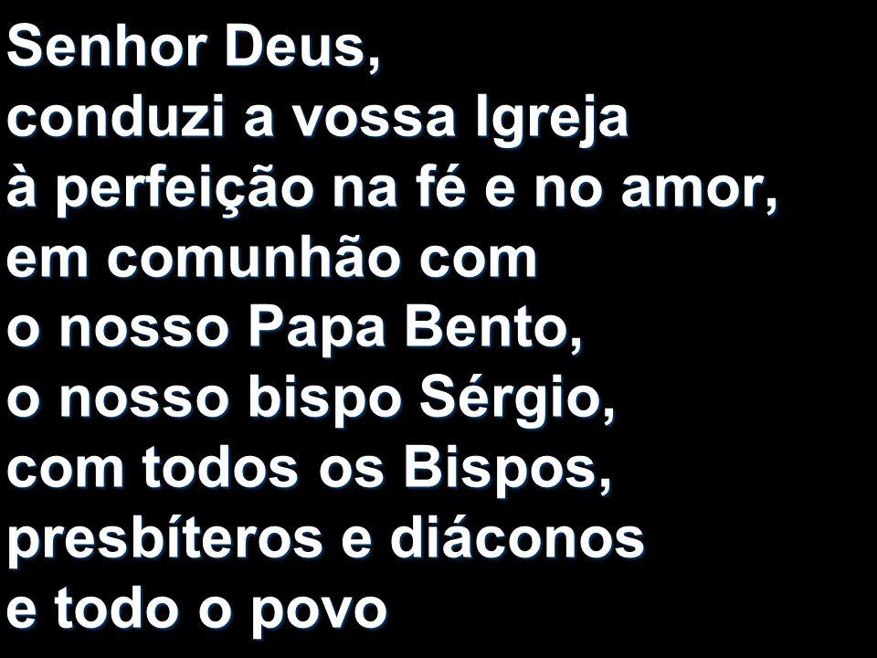 Senhor Deus, conduzi a vossa Igreja à perfeição na fé e no amor, em comunhão com o nosso Papa Bento, o nosso bispo Sérgio, com todos os Bispos, presbíteros e diáconos e todo o povo