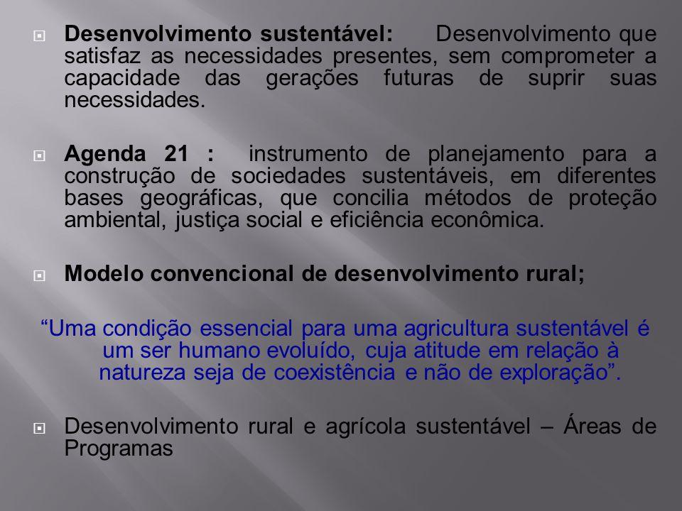 Desenvolvimento sustentável: Desenvolvimento que satisfaz as necessidades presentes, sem comprometer a capacidade das gerações futuras de suprir suas necessidades.
