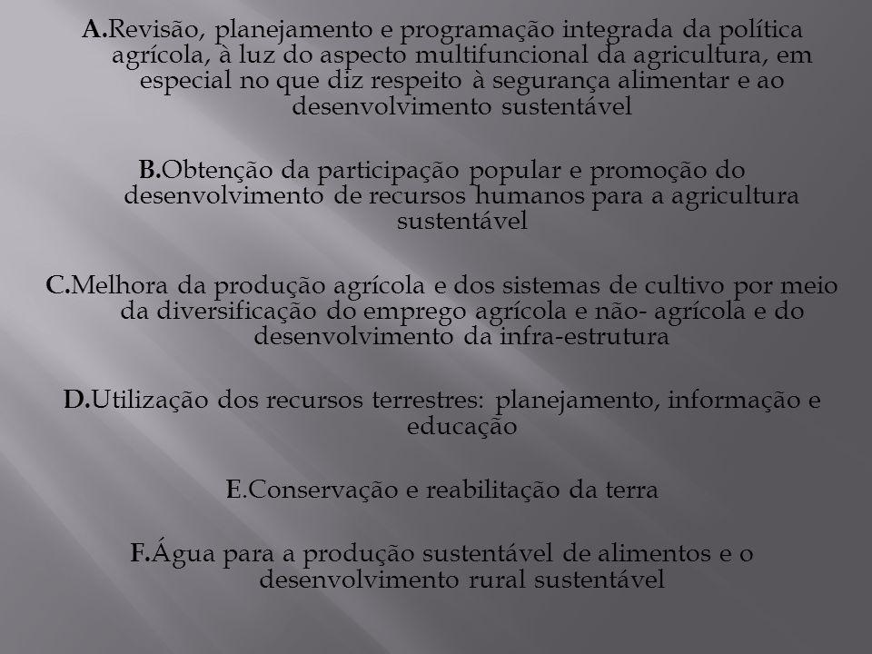 E.Conservação e reabilitação da terra